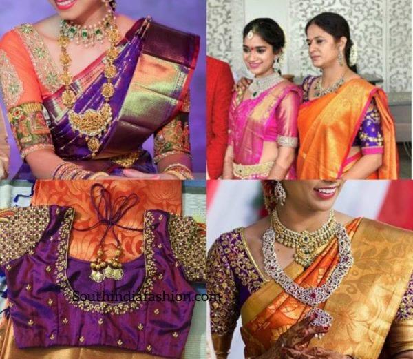 b52e1c5bedfd55 Contrast Blouse Combos for Kanjeevaram Sarees