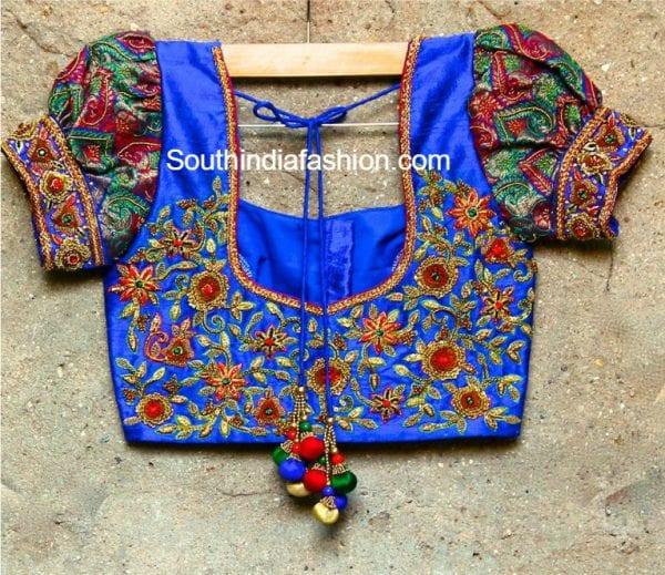 puff-sleeves-aari-work-blouse