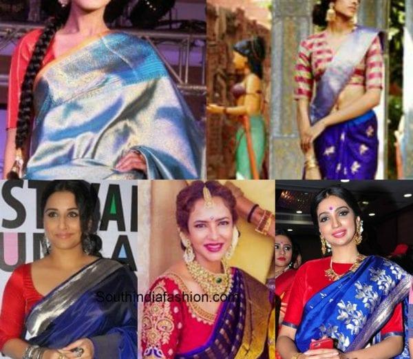 6 Stunning Contrast Blouse Combinations for Kanjeevaram Sarees