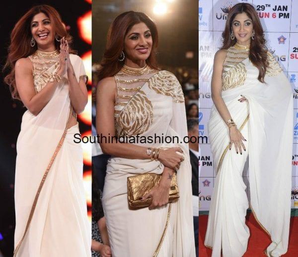 shilpa-shetty-white-saree-mayyur-girotra-umang-2017