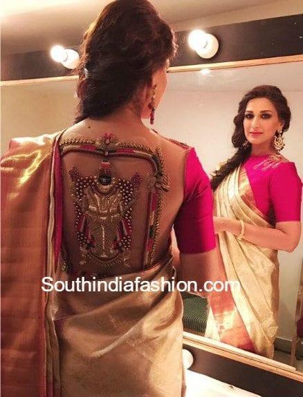 sonali-bendre-blouse-with-goddess-lakshmi