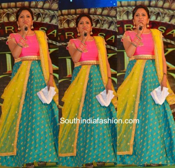 Suma Kanakala in Sony Reddy lehenga