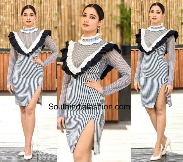 tamannaah bhatia black and white dress 600x531
