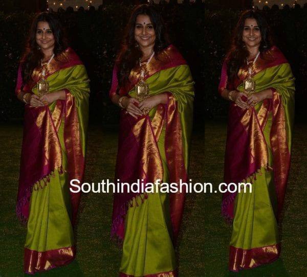 vidya-balan-green-kanjeevaram-saree-Ronnie -Screwvala-daughter- wedding-reception