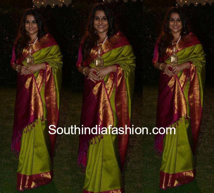 Vidya Balan In A Green Kanjeevaram Saree South India Fashion