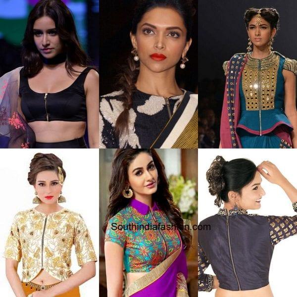 zipper-saree-blouse-designs-for-wedding