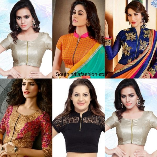 zipper-saree-blouse-designs-for-wedding-1