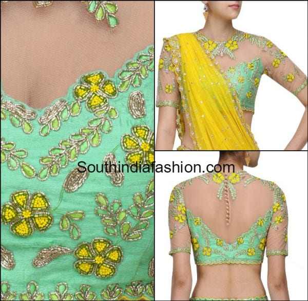 SHEER NET FLORAL EMBROIDERED BLOUSE DESIGNS DIVYA REDDY 600x585