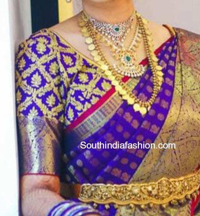 Elbow Length Sleeves Blouse Designs For Kanjeevaram Sarees
