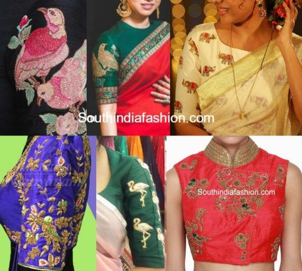 animal bird motif blouse designs 600x538