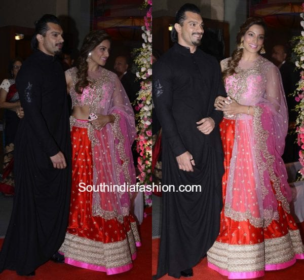 bipasha basu anushree reddy lehenga neil nitin wedding reception 600x552