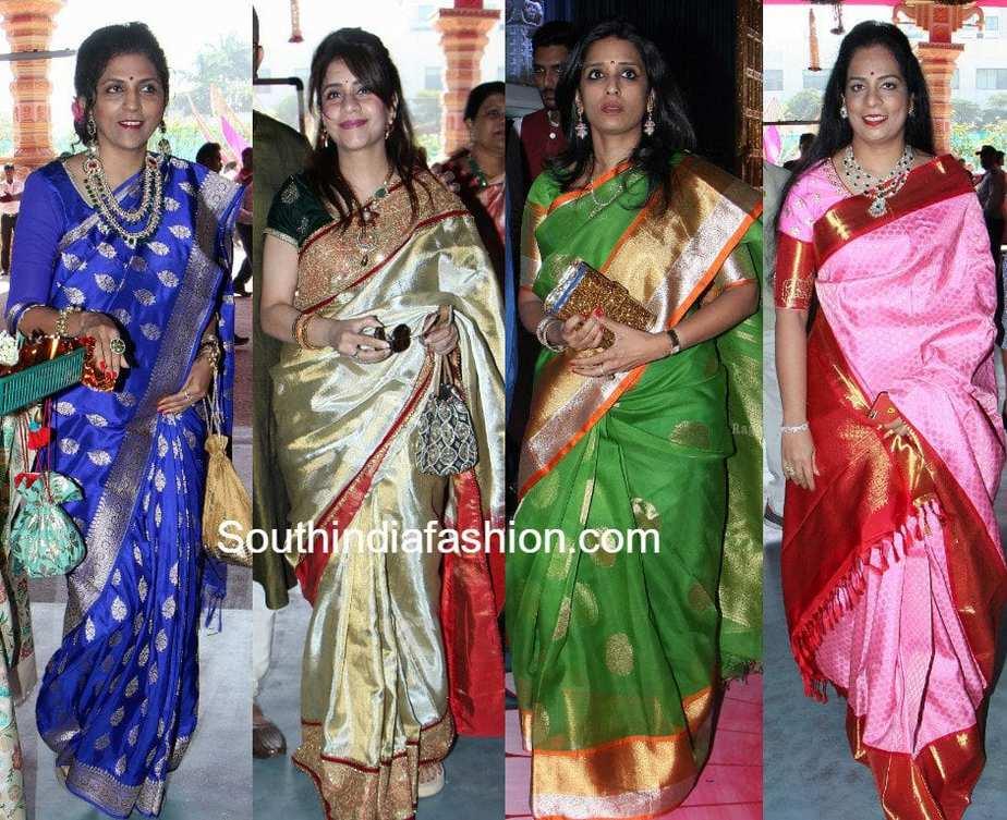 Guests Silk Saree Styles at GV Keshav Reddy and Veena's ...