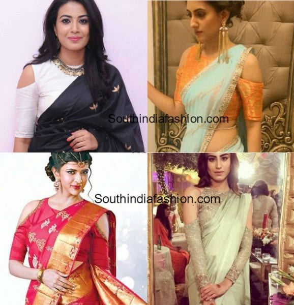 Cold Shoulder Blouse Designs • South India Fashion