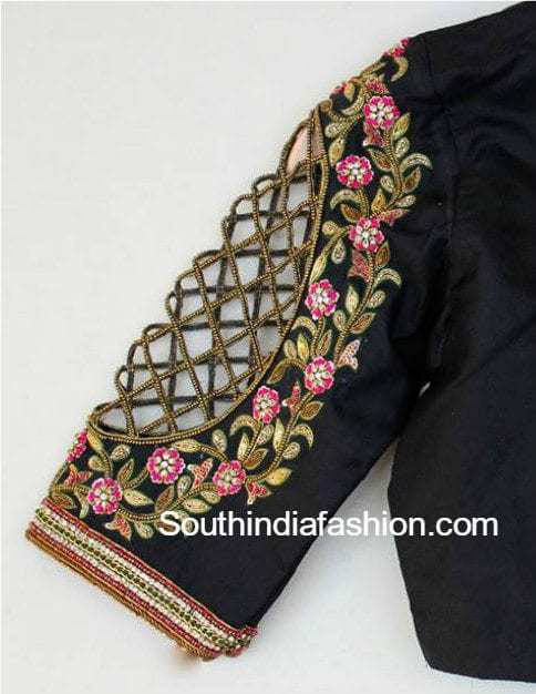 Cut Work Elbow Length Sleeves Blouse U2013 South India Fashion