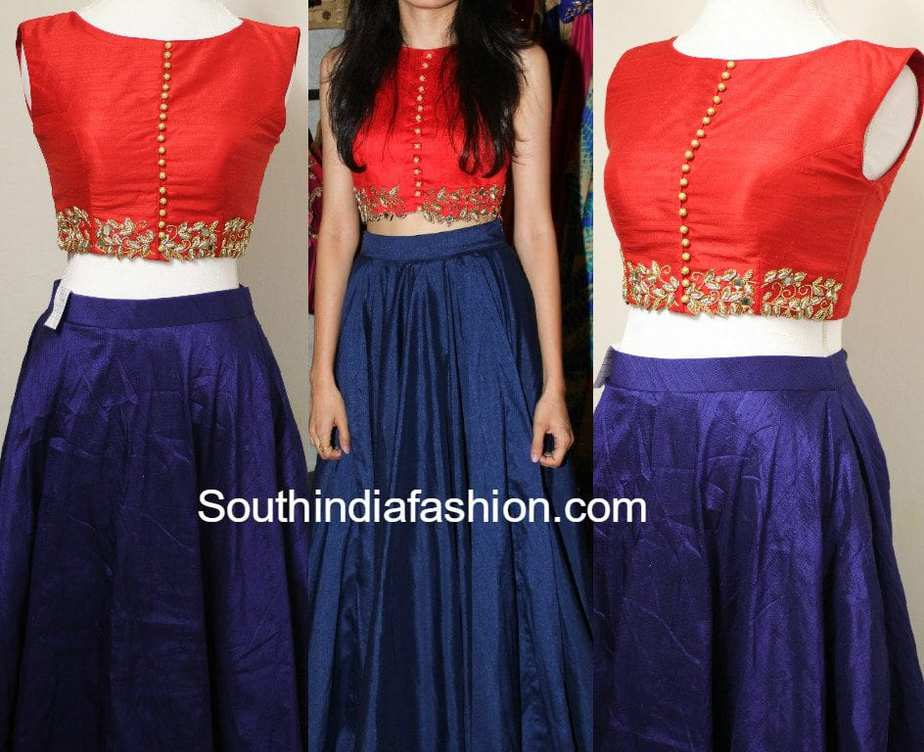 5c36c7070597f Party Wear Long Skirt and Crop Top – South India Fashion