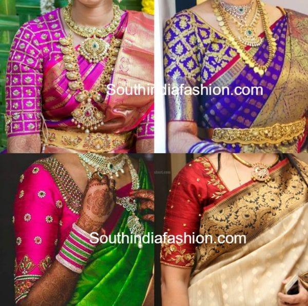 Elbow Length Sleeves Blouse Designs For Kanjeevaram Sarees South India Fashion