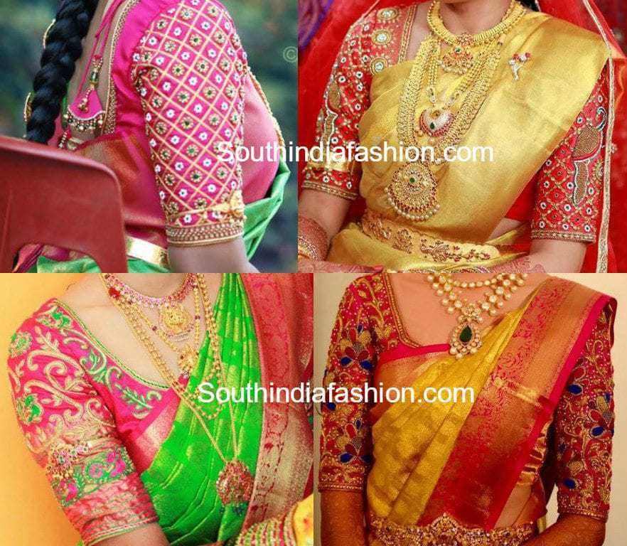 Elbow Length Sleeve Blouse Designs For Silk Sarees South