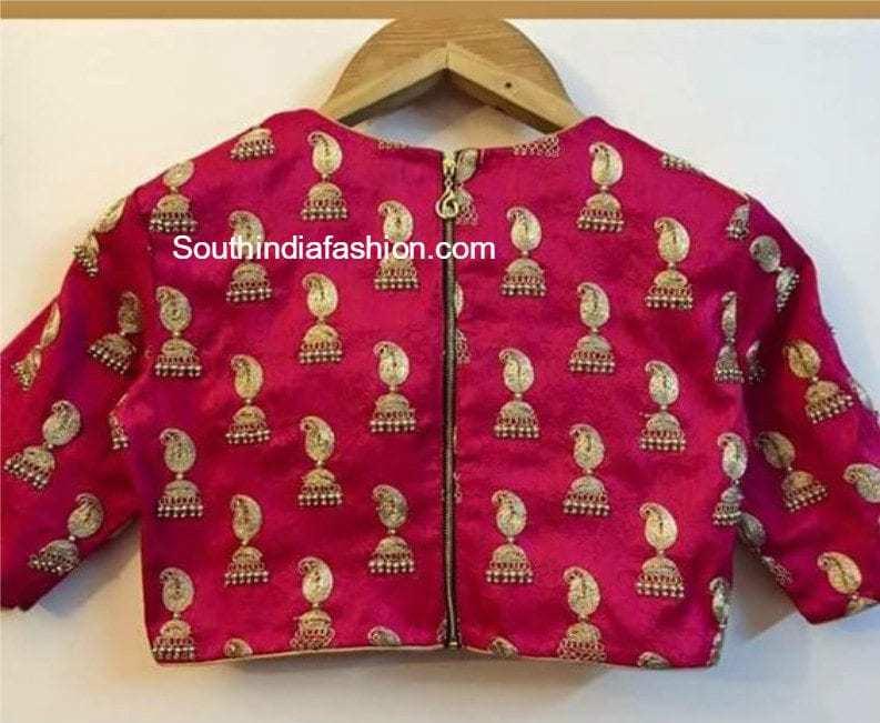 jhumka design blouses for silk sarees �south india fashion