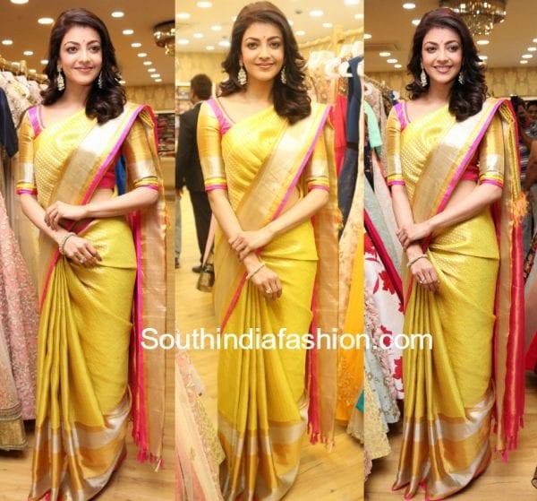 kajal aggarwal kanjeevaram saree trisha boutique launch 600x559
