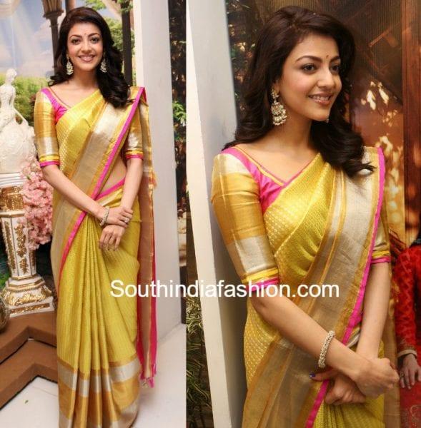kajal aggarwal yellow pattu saree 589x600