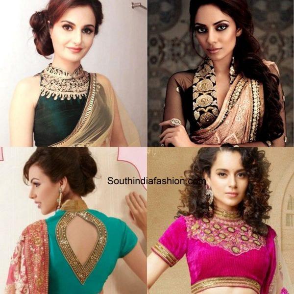 modern-saree-blouse-designs-high-neck