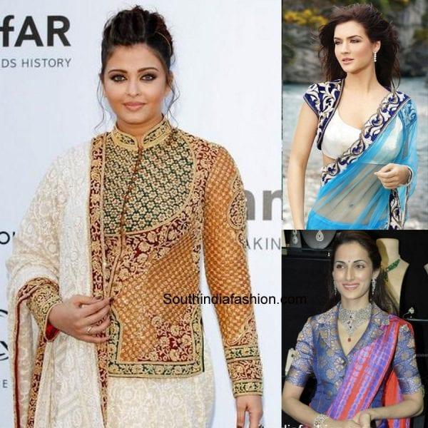 modern-saree-blouse-designs-jacket-blouse