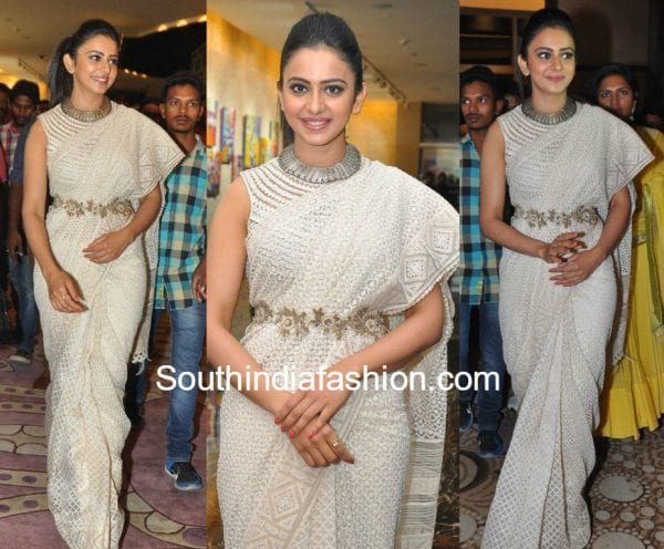 rakul preet singh white saree tarun tahiliani winner pre release event 600x496