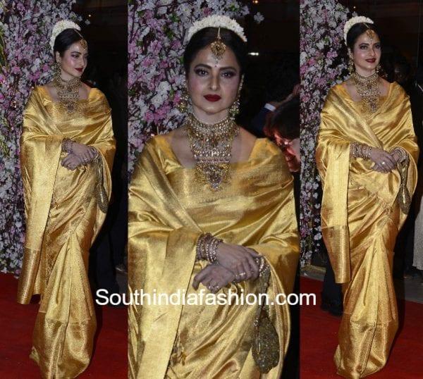 rekha kanjeevaram saree neil nitin wedding reception 600x538
