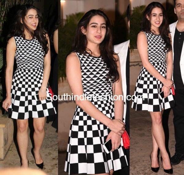 sara ali khan black and white ted baker dress shahid kapoor birthday bash 2017 600x569