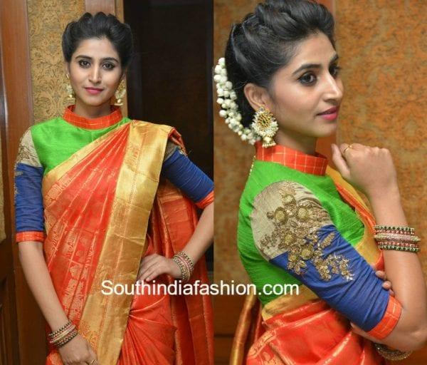 shamili high neck blouse kanjeevaram saree trisha fashions 600x512