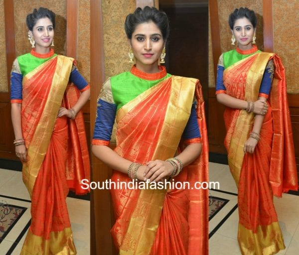 shamili kanjeevaram saree high neck blouse 600x512
