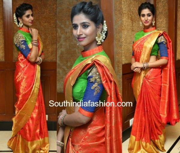 shamili-kanjeevaram-saree-trisha-fashion-show
