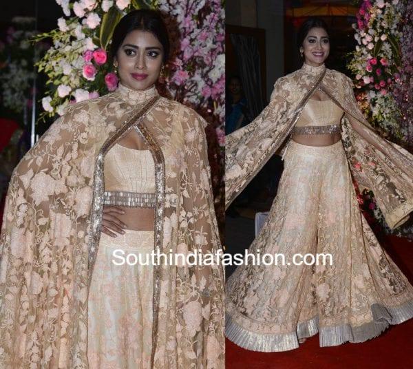 shriya saran neil nitin mukesh wedding reception manish malhotra 600x536