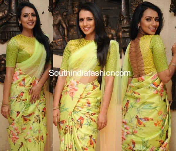shruthi-hariharan-green-bird-print-saree