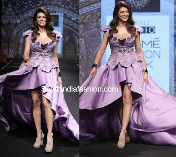 sushmita sen lakme fashion week sashi vangapalli lavender gown 600x535