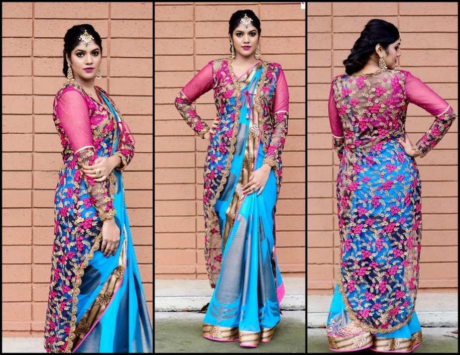 Designer Saree with Long Jacket by ViBha – South India Fashion
