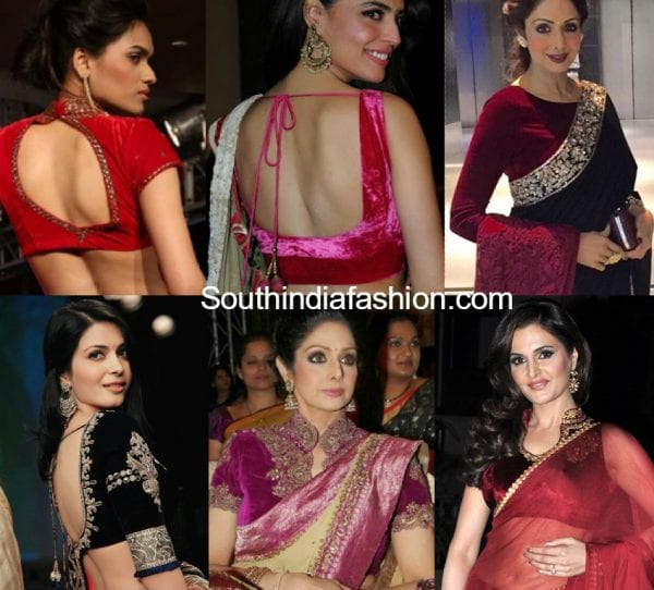 velvet-blouse-designs-with-sarees