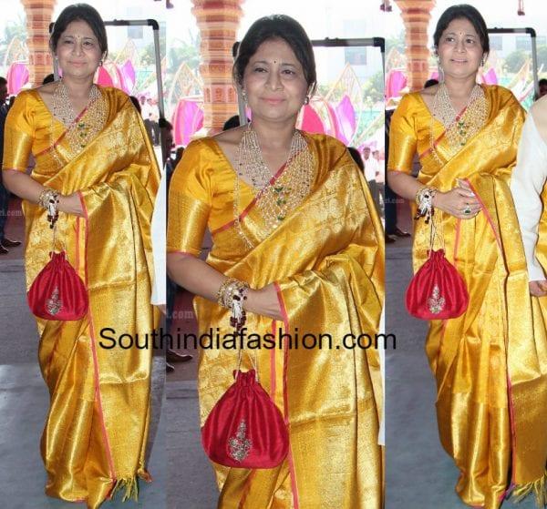 yellow kanjeevaram saree 600x559