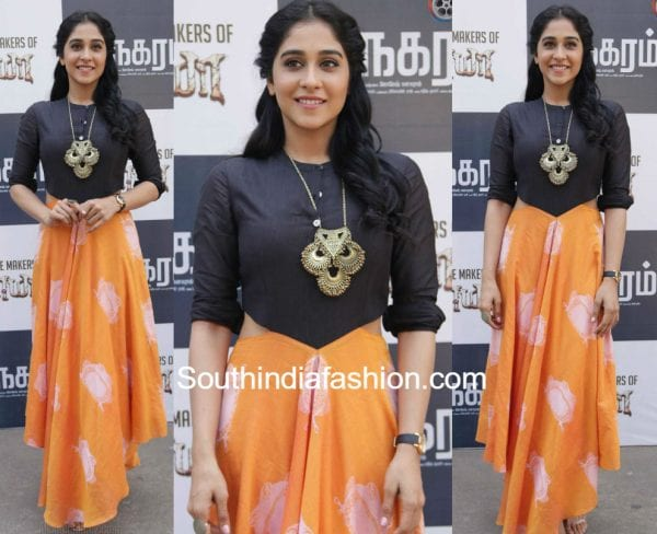 Regina-Cassandra-at-Maanagaram-Movie-Press-Meet-maxi-dress