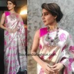 Samantha Prabhu in an animal design saree