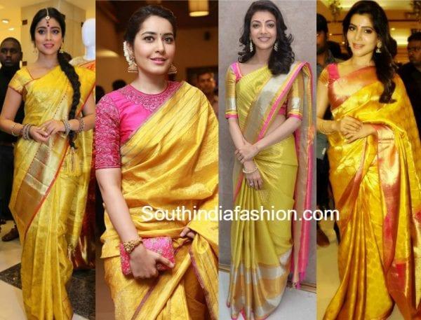 actress yellow traditional silk sarees 600x457