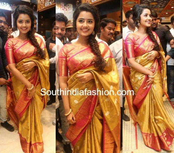 anupama parameswaran silk saree shop opening vrk silks ameerpet 600x528