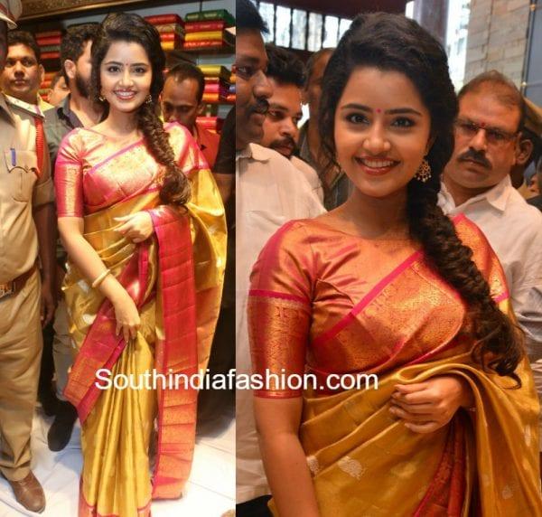 anupama parameswaran silk saree vrk silks shop opening 600x572