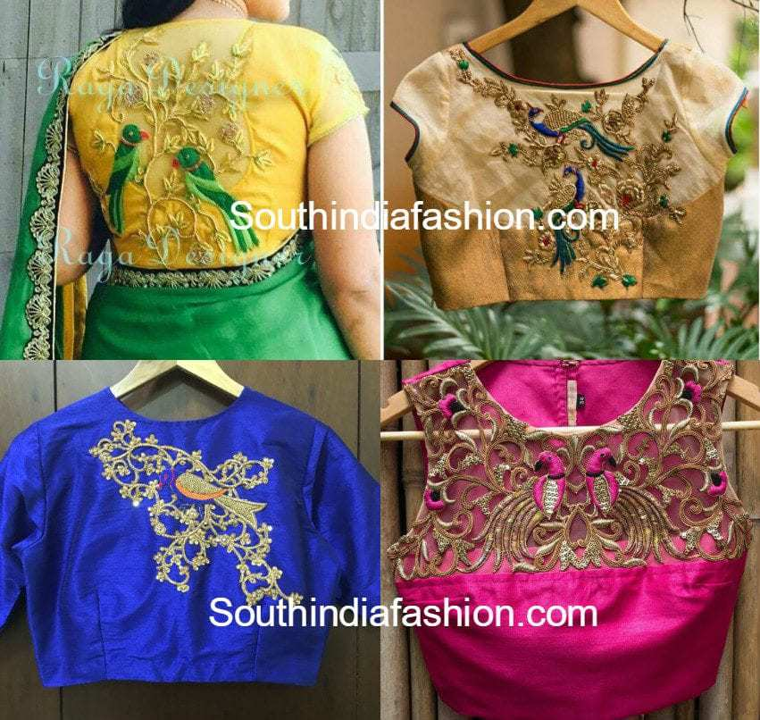 Bird Embroidered Blouse Designs South India Fashion