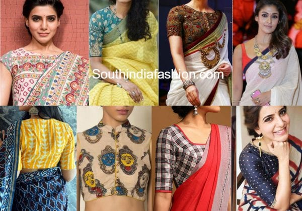 blouse designs with cotton sarees 600x419