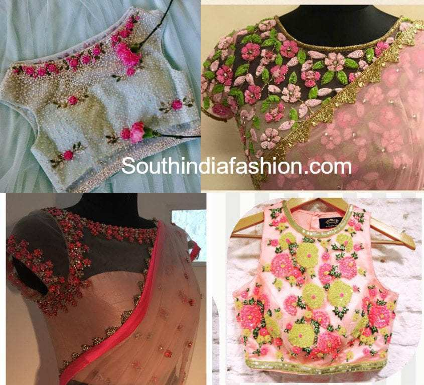 Floral Embroidered Net Blouse Designs South India Fashion