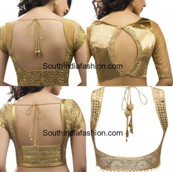 gold blouse designs for sarees 600x595