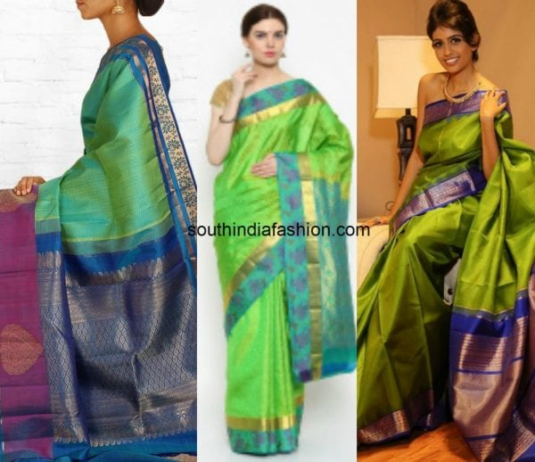 green_with_blue_kanjeevaram_saree