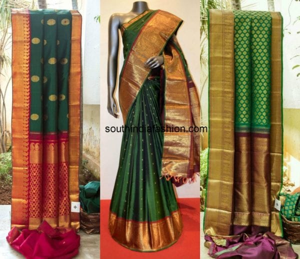 green_with_maroon_kanjeevaram_saree