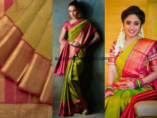 Best ever green kanjeevaram saree combos for you - Combination of green and pink ...